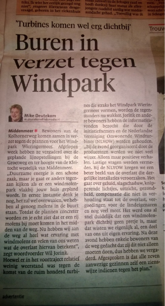 Buren in verzet tegen windplan wieringermeer