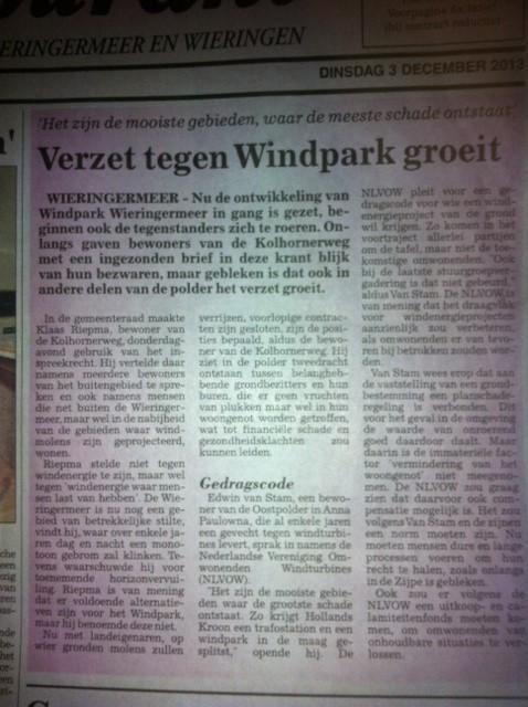 Verzet tegen Windpark Wieringermeer groeit